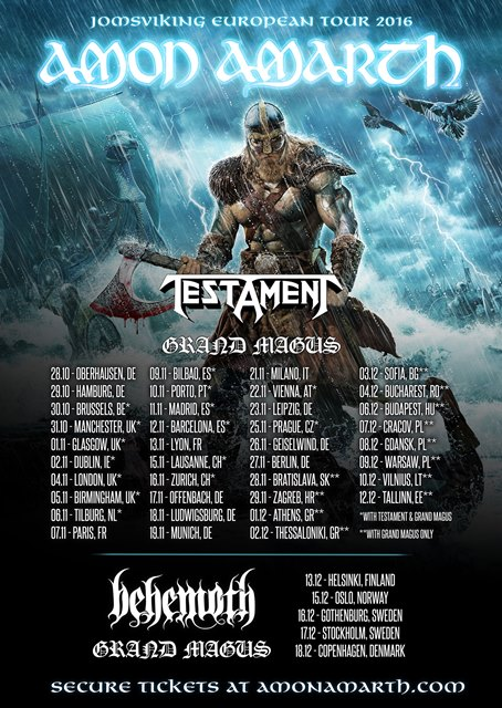 Amon Amarth Tour Flyer 2016