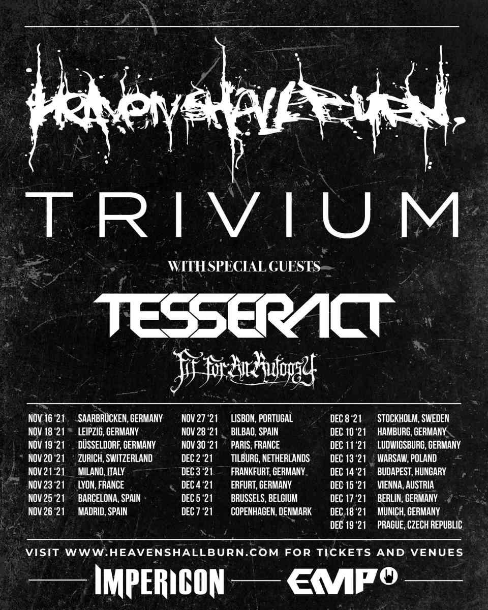 heaven shall burn - tour flyer 2021