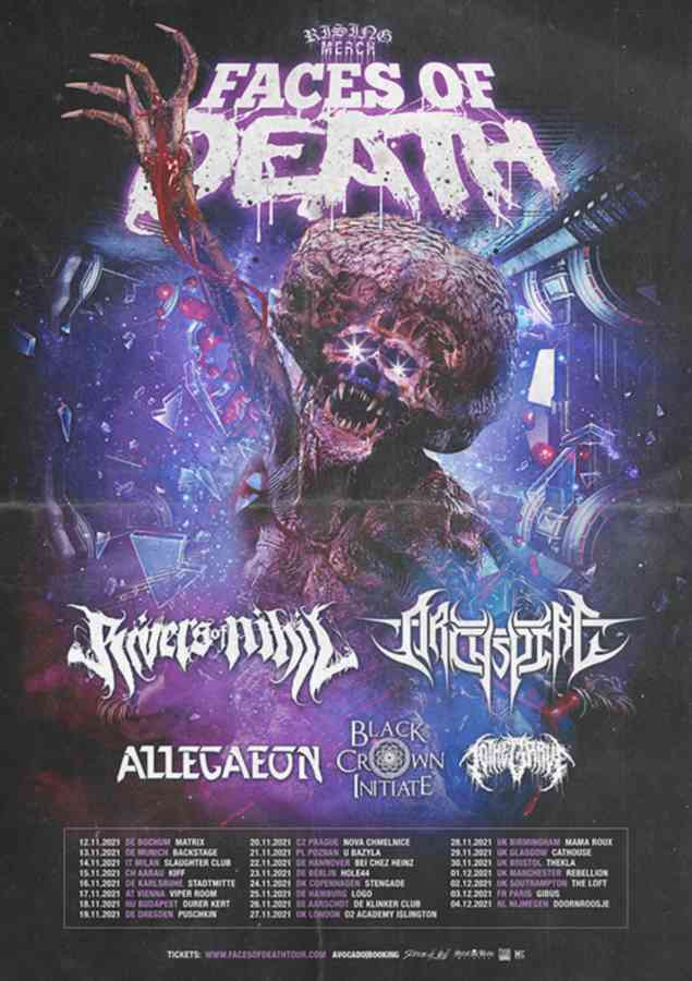 Rising Merch Faces Of Death - tour flyer 2021